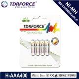 Do hidruro recarregável do metal niquelar de AAA/Hr03 400mAh bateria longa da vida de serviço com Ce para o brinquedo
