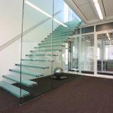 Escaleras del panel del vidrio Tempered, escaleras de cristal del vidrio de flotación de la escalera del larguero invisible