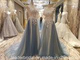 Blaues Tulle-Abschlussball-Kleid, das Spitze-Partei-Abend-Kleider B42 bördelt