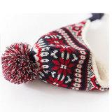 ニットの暖かい耳の折り返しのスキー編みこみの冬POM POMの帽子の兵士の帽子の帽子