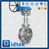 Valvola a farfalla a temperatura elevata manovrata mediante ingranaggi eccentrica triplice di Didtek