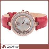 Orologio di lusso del regalo, vigilanza del Leatherwomen genuino impermeabile del Rhinestone