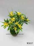 Plástico/Artificial el césped y flores de Bush (W3037)