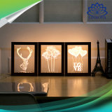 marco de madera LED del marco ligero creativo de la foto de 3D con la luz estérea de la noche del USB del blanco caliente