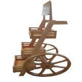 Cremagliera di legno mobile del vino della visualizzazione con il carrello della cremagliera del vino delle rotelle