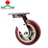 En acier inoxydable, de Roulette en acier robuste en plastique de type de frein supérieure, double roulement à billes