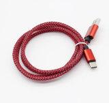 Cáñamo rojo que hace punto el cable del androide de los datos de Charger&Transfer