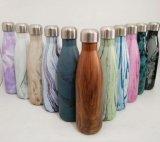 tasse de finition en bois de marbrure de galvanoplastie de 9 17 de l'acier inoxydable 25oz de bosse de kola de bouteille d'eau de vide thermos de flacons