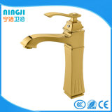 金カラー正方形の熱いColod水洗面器の水栓の蛇口