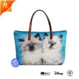 큰 수용량 동물성 고양이에 의하여 인쇄되는 어깨 핸드백 끈달린 가방 여자