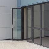 Porta a battenti di alluminio di vetro commerciale esterna di stanza frontale di negozio del blocco per grafici