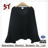 Großhandelsform-Dame-langes Hülsen-T-Shirt