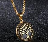 男の子の人の宝石類のギフトを木に生命ネックレスの吊り下げ式のネックレス木を望む方法銀か黒または金
