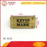 財布袋のハードウェアのためのブラシをかけられた旧式な真鍮の金属の札の金属のロゴの版
