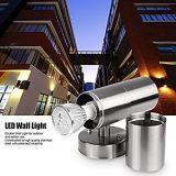 Hacia abajo en el cilindro de pared impermeable Onever aplique de pared de acero inoxidable cubierta de la luz de la luz de la iluminación exterior Accesorio Kit 2 lámparas LED
