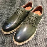 Parte superior em pele genuína preta homens simples calçado
