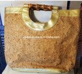 Sacchetto di Tote di cuoio dorato della donna dell'unità di elaborazione del sughero di Tandy di grande capienza