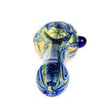 Tubo de cristal de la cuchara del tubo de agua de tubo del tabaco del tubo de cristal ambarino azul de cristal de cristal de la mano