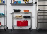 3 plataformas móveis Ajustável 550lbs fio cromado Pesado Garagem Aço Carrinho de rack de armazenamento de ferramentas
