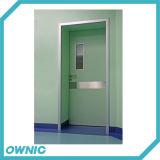 Puerta de oscilación limpia del hospital en la sola apertura