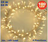 A corda branca morna do diodo emissor de luz das luzes feericamente 100 ilumina a baixa tensão eléctrica