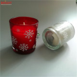 Vela de cristal perfumada laurel pintada (con vaporizador) color del tarro de la nieve para la Navidad