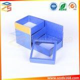 装飾的な製品のためのWindowsのふたが付いている青く贅沢で一義的なデザインギフト用の箱3つの層の