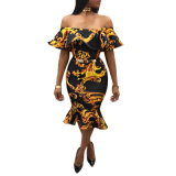 L'automne nouveau style de la femme d'impression de robe bustier robe à manches courtes