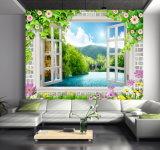 Le guichet voit la peinture à l'huile du mur 3D d'air frais de montagne avec la cascade à écriture ligne par ligne
