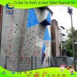 Attaccattura adulta dei bambini alla parete di scalata di roccia della costruzione