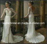 Manches longues robes de mariage de mariée la dentelle d'une ligne de robes de mariage W14716
