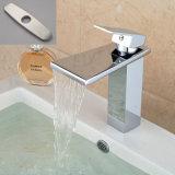 """Mélangeur de robinet de bassin de récipient de bassin monté par paquet de chrome de bec de cascade à écriture ligne par ligne avec """" plaque 8"""