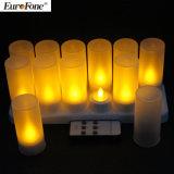 Warme weiße nachladbare flammenlose LED-Kerze mit Fernsteuerungs
