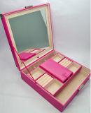 Nueva caja de maquillaje joyería de escritorio de gran capacidad con el espejo