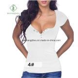 Circuit européen de V-Collier de vente chaude gainé avec le T-shirt de dames de bouton