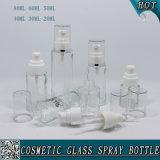 frasco de vidro desobstruído cosmético da loção de 20ml 30ml 40ml 50ml 60ml 80ml com pulverizador da bomba
