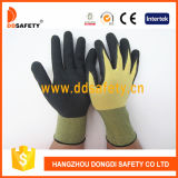 Ddsafety 2017 Light Yellow Nylon et Spandex Polyester Black Latex Coating Gloves