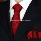 100% seda jacquard teje Mens cuello corbata y Pañuelo