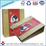 Полноцветный Recyled магазинов Упаковка Индивидуальные розничные Kraft бумажных мешков для пыли