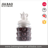 vaso poco costoso del pudding del vetro a calce sodata di prezzi 285ml con il coperchio di ceramica