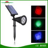 태양 잔디밭 정원 벽 램프 반점 빛 옥외 조경 태양 스포트라이트를 바꾸는 4개의 LED 높은 Brigntess 조정가능한 RGB 색깔