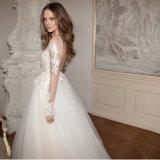 Manches dentelle élégante applique broderie Train robe de mariée de balayage (Dream-100009)