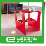 빨간 색칠을%s 가진 구부려진 유리제 중심 테이블