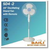 """Ventilateur de oscillation de stand de la couleur blanche 16 """" avec le distant"""