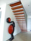Escaliers droits en acier d'opération en bois d'intérieur
