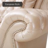 Sofá de couro simples europeu da sala de estar ajustado