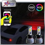 Faros delanteros del coche del color LED del color de fábrica H7 H11 9005 9006 H13 9007 Viga alta / baja 72W 7200lm 6000k Smartphone APP Control para Toyota Honda