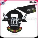Medallas militares de encargo del esmalte suave plateado níquel negro