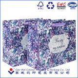 Insignia modificada para requisitos particulares plegamiento de la impresión de la bolsa de papel del arte de la bolsa de papel del color que hace compras