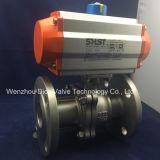 Válvula de esfera de CF8m/CF8 3PC com atuador pneumático